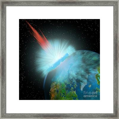 Asteroid Hits Earth Framed Print