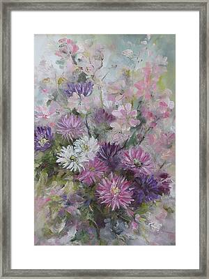 Asters And Stocks Framed Print