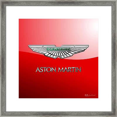 Aston Martin - 3 D Badge On Red Framed Print by Serge Averbukh