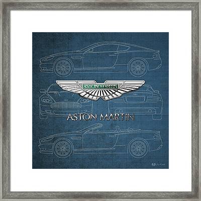Aston Martin 3 D Badge Over Aston Martin D B 9 Blueprint Framed Print by Serge Averbukh