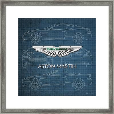 Aston Martin 3 D Badge Over Aston Martin Db 9 Vintage Blueprint Framed Print by Serge Averbukh