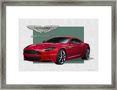 Aston Martin  D B S  V 12  With 3 D Badge  Framed Print by Serge Averbukh