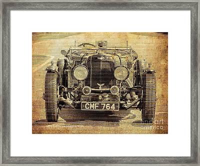 Aston Martin Ulster 1935, Vintage Background Framed Print by Pablo Franchi