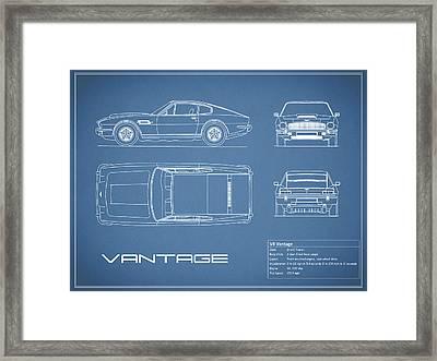 Aston Martin V8 Vantage Blueprint Framed Print by Mark Rogan