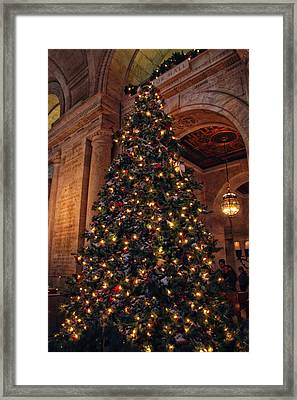 Framed Print featuring the photograph Astor Hall Christmas by Jessica Jenney
