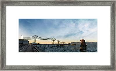 Astoria Megler Bridge By Riverwalk Panorama Framed Print