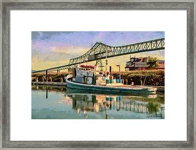 Framed Print featuring the painting Astoria Waterfront, Scene 1 by Jeff Kolker