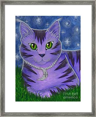Framed Print featuring the painting Astra Celestial Moon Cat by Carrie Hawks