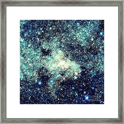 Astral Glitter Milky Way Teal Blue Framed Print