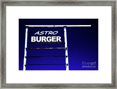 Framed Print featuring the photograph Astro Burger by Jim and Emily Bush