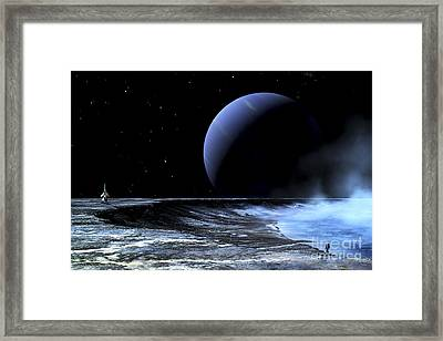 Astronaut Standing On The Edge Framed Print by Frank Hettick