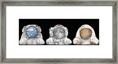 Astronaut Triptych Framed Print by Tharsis Artworks