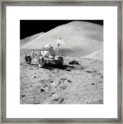 Astronaut Works At The Lunar Roving Framed Print by Stocktrek Images