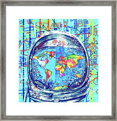 Astronaut World Map 2 Framed Print by Bekim Art