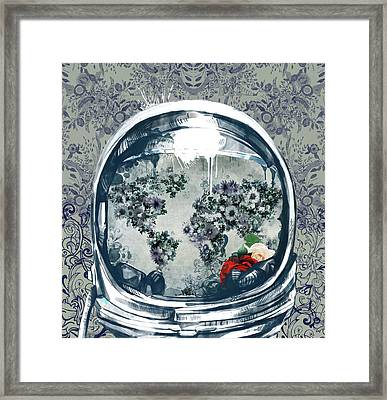 Astronaut World Map 5 Framed Print by Bekim Art