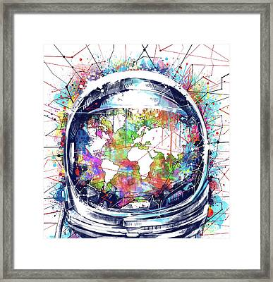Astronaut World Map 6 Framed Print