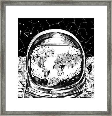 Astronaut World Map 8 Framed Print