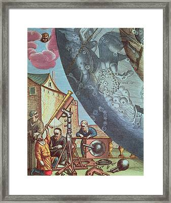 Astronomers Looking Through A Telescope Framed Print