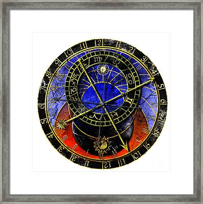 Astronomical Clock In Grunge Style Framed Print