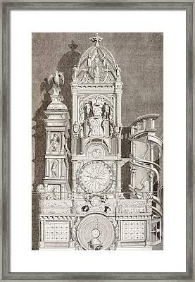 Astronomical Clock In Notre Dame Framed Print