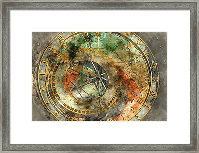Astronomical Clock In The Old Town Square In Prague Framed Print by Brandon Bourdages