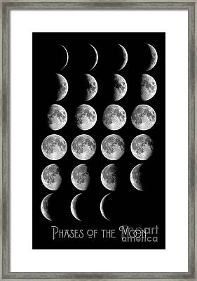 Astronomy Chart, Phases Of The Moon, Lunar Chart Framed Print by Tina Lavoie