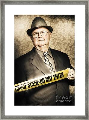 Astute Fifties Crime Scene Investigator Framed Print by Jorgo Photography - Wall Art Gallery