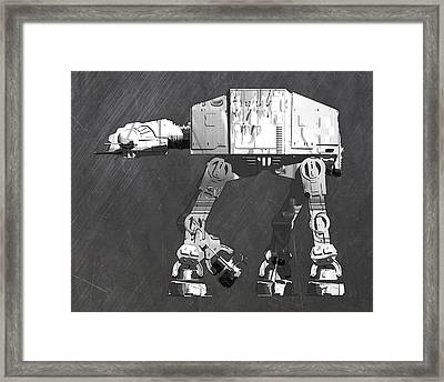 At At Walker From Star Wars Vintage Recycled License Plate Scrap Metal Art Framed Print by Design Turnpike