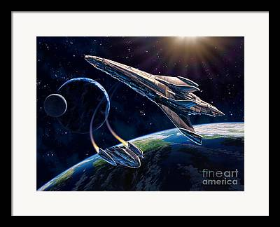 Space Ships Framed Prints