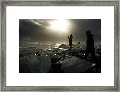 The Diamond Beach, Jokulsarlon, Iceland Framed Print