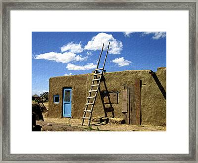 At Home Taos Pueblo Framed Print by Kurt Van Wagner