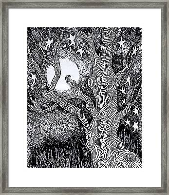 At Night Beside The Twisted Tree Framed Print
