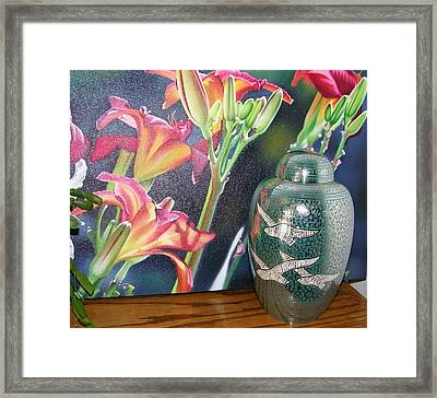 At One With Flowers And Swallows Framed Print by Lenore Senior