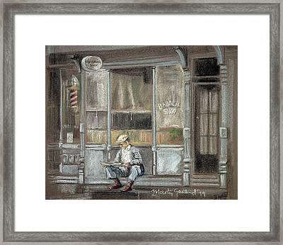 At The Barber Shop Framed Print by Marty Garland