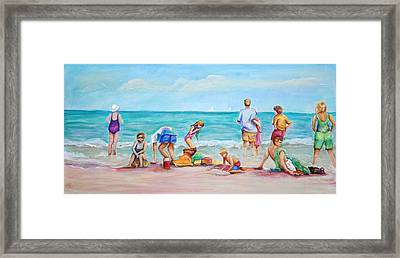 Framed Print featuring the painting At The Beach by Patricia Piffath
