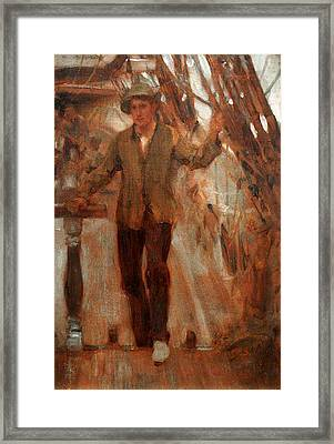 Framed Print featuring the painting At The Break Of The Poop  by Henry Scott Tuke