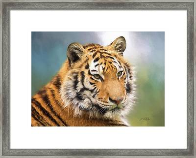 At The Center - Tiger Art Framed Print by Jordan Blackstone