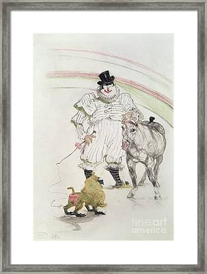 At The Circus Performing Horse And Monkey Framed Print by MotionAge Designs