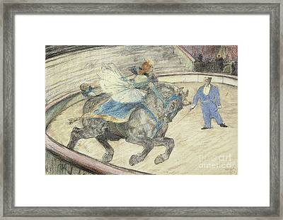 At The Circus  Work In The Ring Framed Print by Henri de Toulouse-Lautrec