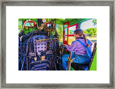 At The Controls Of Steam Engine No 3 Framed Print by Garry Gay