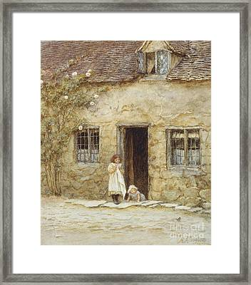 At The Cottage Door Framed Print by Helen Allingham