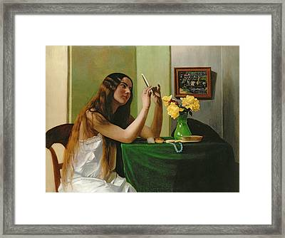 At The Dressing Table Framed Print by Felix Edouard Vallotton