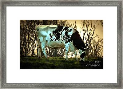 Framed Print featuring the painting At The End Of The Day - Black And White Cow by Janine Riley