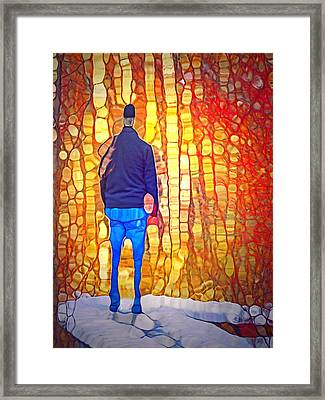 At The End Of The Snowy Boardwalk Framed Print