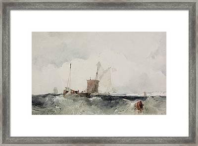 At The English Coast Framed Print by Richard Parkes Bonington