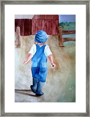 At The Farm Framed Print by Pat Vickers