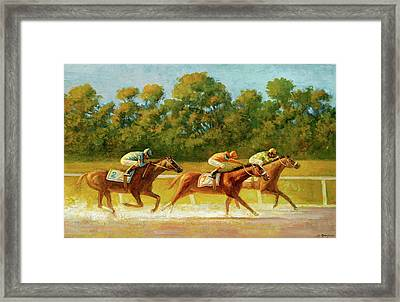 At The Finish Line Framed Print