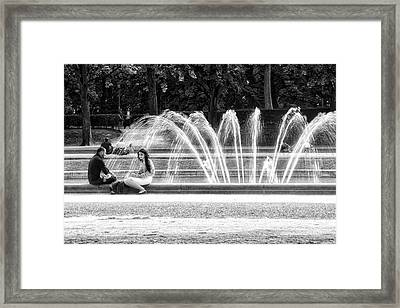 At The Fountain Framed Print