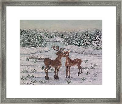 At The Frozen Lake Framed Print