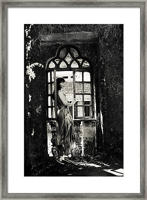 At The Gothic Window. Old Margao. Goa. India Framed Print by Jenny Rainbow